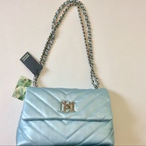 Badgley Mischka bag quilted metallic blue soft bag